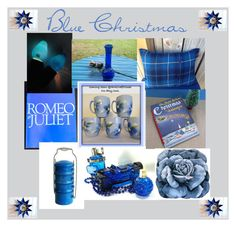 """""""Blue Christmas"""" by oldsowell ❤ liked on Polyvore featuring interior, interiors, interior design, home, home decor, interior decorating, GE, vintage, shopping and holiday"""
