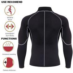 Amazon.com : Men Sweat Neoprene Weight Loss Sauna Suit Workout Shirt Body Shaper Fitness Jacket Gym Top Clothes Shapewear Long Sleeve (Black, XXL) : Sports & Outdoors