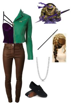"""TMNT inspired: Donatello"" by jhasy ❤ liked on Polyvore featuring Givenchy, Dsquared2, Vans, BERRICLE, leatherjacket, TMNT and ninjaturtle"