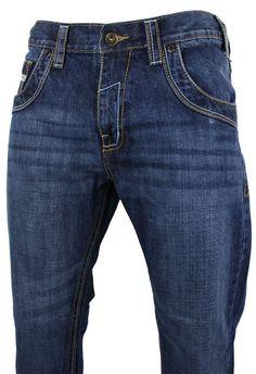Mens Blue Straight Leg Washed Jeans Pocket Deisgn Regular Size 30 - 50 34b571e9168