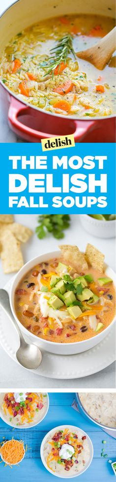 The Best Fall Soup Recipes, From Chicken Noodle to Broccoli Cheddar The 59 Most Delish Fall Soup Fall Soup Recipes, Crockpot Recipes, Cooking Recipes, Healthy Recipes, Biryani, Korma, Soup And Sandwich, Soup And Salad, Soups And Stews