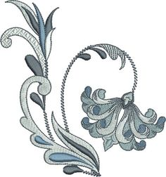 Pat Williams Embroidery Design: Fleur De Lis Floral 4.93 inches H x 4.63 inches W