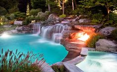 Unique Swimming Pools Designs | Unique+Design+Swimming+Pool+with+Waterfalls+Decoration+Pool+Waterfalls ...