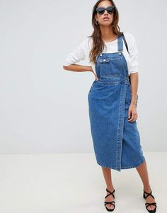 90523bbada ASOS DESIGN denim midi dungaree dress in mid wash blue