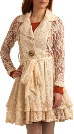 Modcloth Beige Gathering Lace Coat