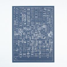 1929 Cincinnati Street Map. Hand-pulled, Short-run Screen Print. White Ink on Blue French Paper.