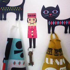 Soon in our shop www.kidsdinge.com #Cat #Hooks by Ingela P Arrhenius Love it !! https://www.facebook.com/pages/kidsdingecom-Origineel-speelgoed-hebbedingen-voor-hippe-kids/160122710686387?sk=wall