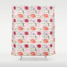Peach Cream Stripes Watercolor Flowers Shower Curtain