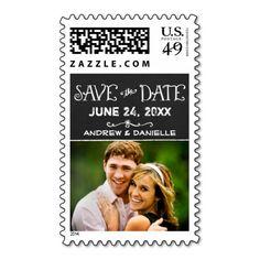 Save the Date Postage | Black Chalkboard Charm