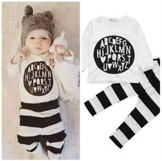 0-3Y Newborn Baby Boys Girls Clothes Long Sleeve Cotton T-Shirt Top + Striped Pant 2pcs Outfit Toddler Kids Clothing Set #>=#>=#>=#>=#> Click on the pin to check out discount price, color, size, shipping, etc. Save and like it!
