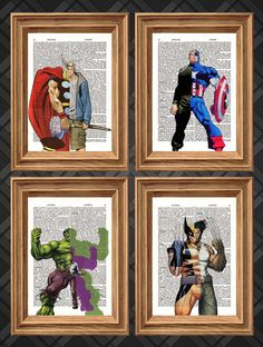Marvel Heroes Four Print Deal - Dictionary Art Print Up-cycled Antique Book Art Page, Wall Decor, Wall Art , Poster Set