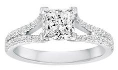 Split Shank Princess Cut Diamond Engagement Ring - Diadori