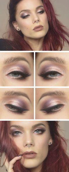 Elegant Peachy Purple Makeup