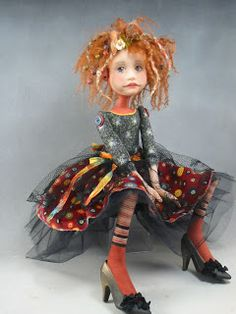 Dianne Adam Dolls I love this Doll! Ooak Dolls, Art Dolls, Dulceros Halloween, Toy Art, Polymer Clay Dolls, Paperclay, Little Doll, Doll Maker, Fabric Dolls