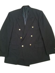Oscar De La Renta Wool Black Blazer Sports Coat Jacket Crown Buttons Men 42R #OscarDeLaRenta #DoubleBreasted http://www.ebay.com/itm/Oscar-De-La-Renta-Wool-Double-Breasted-Black-Blazer-Crest-Crown-Buttons-Men-42R-/201265693070?