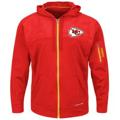 7da57d6aa Kansas City Chiefs Majestic Ready For Action Therma Base® Full-Zip Hoodie -  Red