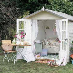 absolutely the cutest way to redo a storage shed into a sun room.  birdsofafeatherdesign.com