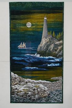 Nightlights measures 24-1/2 wide x 46-1/2 high, and is a one-of-a-kind quilted wall-hanging of my original design. My quilts are never repeated