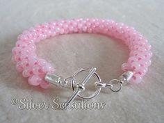 Handmade Pastel Baby Pink Beaded & Braided by SilverSensationsUK