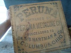 Peruna Tonic Vintage Primitive Wooden Crate Dovetail Wood Box Advertise Medicine | eBay