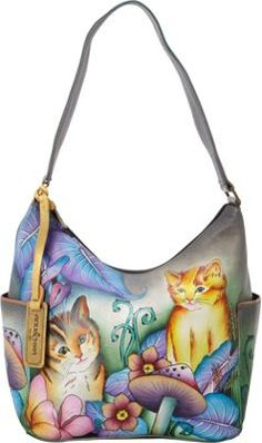 Anuschka Hobo with Side Pockets Cats in Wonderland - via eBags.com!