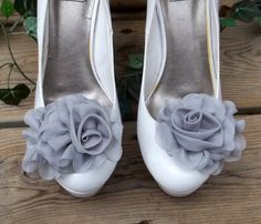 Bridal+Shoe+Clips++Gray+Chiffon+flowers+set+of+2+by+ShoeClipsOnly,+$26.00
