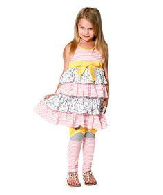 Jelly the Pug Pink Bow Ruffle Dress & Leggings - Infant, Toddler & Girls | zulily