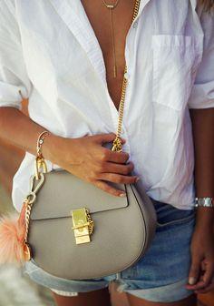 MGEMI 'Brezza' flats AMERICAN EAGLE button up shirt VINTAGE LEVIS shorts CHLOE 'Drew' bag