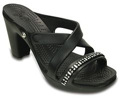 It's the strappy heel that's comfortable enough to wear all day, now with a little bling. We've added a sparkly rhinestone band across the toe, just enough to help these heels stand out from the crowd. They're made with our Croslite foam, so they're very light and have all of the cushion and comfort you expect from Crocs. Subtle side elastic adds even more comfort. Free shipping on qualifying orders.