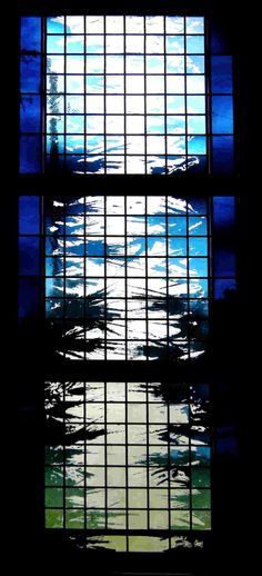 """""""Wind"""" - Sacred Heart C.C., Punta Gorda, FL, 2008    3'6""""x8'6"""" etching and fire polishing on flashed glass with silver stain."""