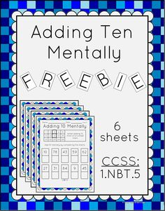 Free - This worksheet has students adding 10 mentally using a numbers chart. There's a guide at the top as an example. Includes an answer key and terms of use page.   Great for classwork or homework.