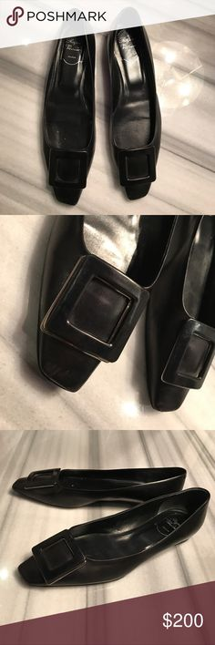 Rodger Vivier 10 mm Polished Napa Leather Flats Rodger Vivier Ballerina Flat in Black Napa Leather.  Angled  Square Toe. Signature pilgrim buckle in covered leather. Leather lining. Made in Italy. Size 39. Good Condition. Roger Vivier Shoes Flats & Loafers