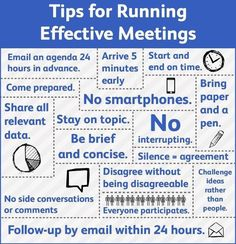 "Over the Christmas period I noticed the following graphic appear on several LinkedIn users that I follow.  These tips for running effective meetings also received a number of ""+1's"" (the seemingly"