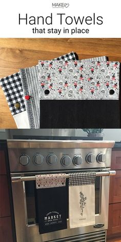Super functional kitchen towels made to not fall to the floor. Just add a fabric. Super functional kitchen towels made to not fall to the floor. Just add a fabric band and some plas Easy Sewing Projects, Sewing Projects For Beginners, Sewing Hacks, Sewing Tutorials, Sewing Crafts, Sewing Patterns, Sewing Tips, Diy Projects, Sewing Ideas
