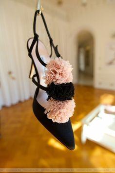 Manolo Blahnik pink and black puffs