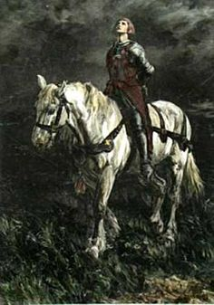 Painting of Joan of Arc as a prisoner riding a horse by Rowland Wheelwright