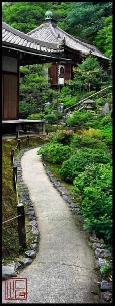 """Reikan Ji by William COREY at Caribou Denver. The Peaceful Gardens of Kyoto. $850.00. Framed - measures 30.25 h x 15.50""""w. #photograph #panoramic #colorphotograpy #williamcorey #japanesegardens #imperialgardens #gardens #Asian #Japanese #Kyoto #serenity #green #blue"""