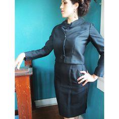 1950s/1960s Black Silk Suit Dress
