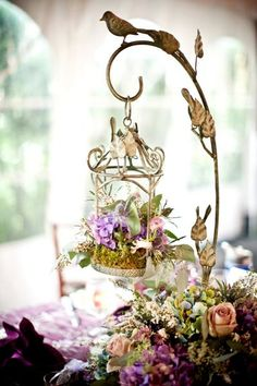 A hung bird cage with moss and flowers for an enchanted garden wedding Wedding Themes, Wedding Decorations, Wedding Events, Bird Cage Centerpiece, Wedding Ideas To Make, Enchanted Garden Wedding, Dream Wedding, Wedding Day, Wedding Table
