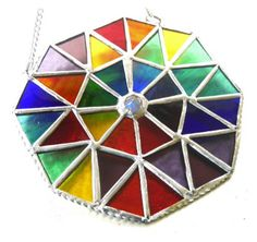 Patchwork Rainbow Octagon Stained Glass Suncatcher - The British Craft House Craft House, Stained Glass Windows, Suncatchers, Twinkle Twinkle, Rainbow Colors, Home Crafts, British, Copper, Things To Come