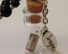 IMAGINE Light Bulb Beaded Necklace/ Glass And Metal Beads / Cotton Cord / Bottle Charm With Mini Light Bulb Inside