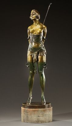 1882-1943 Escultura de bronce tras Ferdinand Preiss Sculpture girl art deco Style
