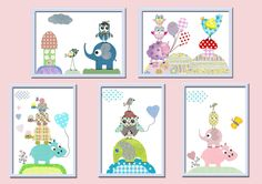 "Art for Children , Kids Wall Art, Baby Girl Room Decor, Nursery print 8"" x 10"" Print,owl,decoration, tree,birds,violet,rose,artwork. $14.00, via Etsy."