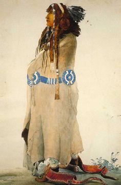 Sih-Chida (the yellow feather) Mandan - Karl Bodmer watercolor 1833-34