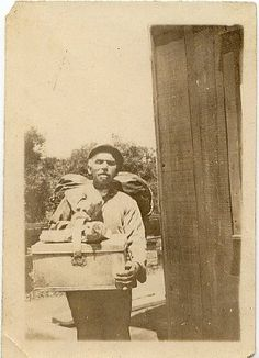 Photograph of Hymen Cohen, with peddler's pack, ca.1900. National Museum of American Jewish History, 1992.15.1