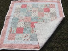 baby girl quilts coral and aqua | Beautiful Pale Turquoise and a Coral Pink Patchwork Baby Girl Quilt
