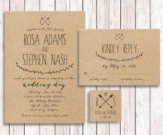 Wedding Invitation Suite, Rustic Wedding Invitation, Wedding Invitation RSVP Printable, Simple Wedding Invitation RSVP, The Capistrano Suite