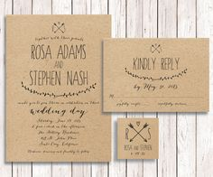 Rustic Wedding Invitation Kraft Paper by SimplyFetchingPaper