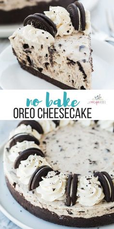 This No Bake Oreo Cheesecake Is Made With Just A Few Ingredients It's So Silky Smooth And Loaded With Chunks Of Oreos. The No Bake Dessert For Summer Easy Dessert Recipe Oreo Dessert No Bake Cheesecake Dessert Oreo, Oreo Desserts, Chocolate Desserts, No Bake Desserts, Easy Desserts, Health Desserts, Chocolate Cream, Desserts For Birthdays, Easy Few Ingredient Desserts