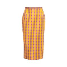 N° 21 Checked Pencil Skirt (561,820 KRW) ❤ liked on Polyvore featuring skirts, orange, knee length pencil skirt, mid calf pencil skirt, cotton midi skirt, midi skirt and orange pencil skirt